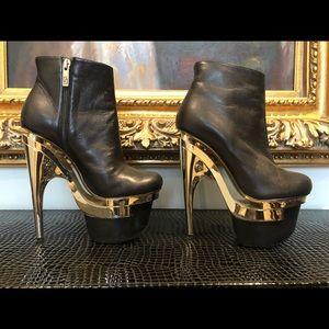 Versace Black Bootie with Gold Platform